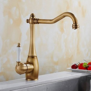 Kitchen Faucet Antique Brushed Porcelain Handle Faucet Hot Cold Mixer Basin Tap Luxury Faucet 360 Swivel 9070S