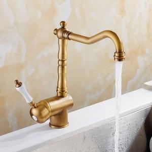 Kitchen Faucet Antique Brushed Porcelain Handle Faucet Hot Cold Mixer Basin Tap Luxury Faucet 360 Swivel 9087A
