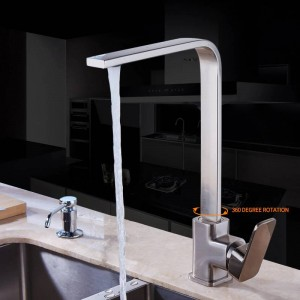 Kitchen Faucet Chrome Brass Deck Kitchen Sinks Faucet High Arch 360 Degree Rotating Swivel Cold Hot Mixer Water Tap LAD-7119