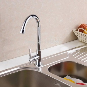 Kitchen Faucet Cold Water Chrome Silver Brass Kitchen Sink Faucet Single Lever Rotate Spout Deck Mounted Cold Tap Crane 8301L