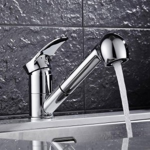 Kitchen Faucets 360 Degree Swivel Pull Out Kitchen Sink Faucet Water-Saving Polished black Basin Crane Mixer Brass Tap LAD-93