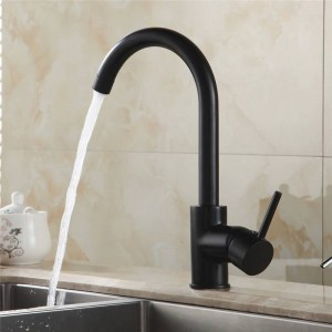 Kitchen Faucets Black Color Rotating Copper Crane Kitchen Sink Faucet Hot And Cold Water Brass Taps Kitchen Mixer Tap 7114R