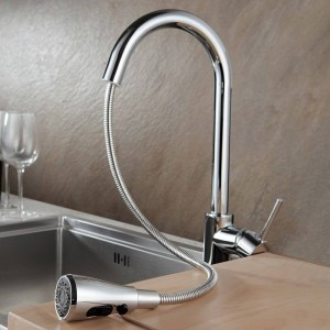 Kitchen Faucets Chrome Pull Out Kitchen Tap Single Hole Handle Swivel 360 Degree Water Mixer Tap Silver Single Handle 866002