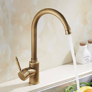 Kitchen Faucets Cold Water And Hot Water Antique Brass Kitchen Sink Faucet Single Handle Deck Mounted FlexibleMixer Taps 9222F