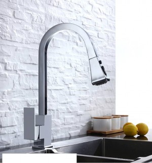 Kitchen Faucets Silver Single Handle Pull Out Kitchen Tap Single Hole Handle Swivel 360 Degree Water Mixer Tap Mixer Tap 866399R