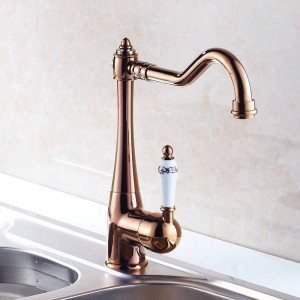Kitchen Faucets Single Holder Single Hole Kitchen Sink Faucet Swivel Spout Ceramic Handle Chrome Brass Mixer Water Taps HJ-7801