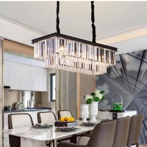 Kitchen Long Crystal strips pendant lights for dining room rectanglar clear & grey Cafe Bar light lustres led indoor lighting