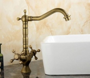 Kitchen Sink Bathroom basin Faucet mixer tap Antique Brass Finish Swivel Double Handle
