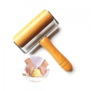 Kitchen Wooden Rolling Pin With Handle Fondant Cake Decoration Dough Roller Baking Cooking Tools Kitchen Accessories 1pcs