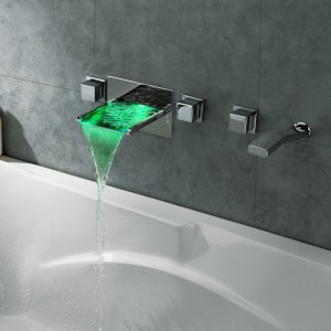 Koko LED Color Changing Waterfall Wall Mount Bathtub Filler Faucet & Handshower Chrome Brass