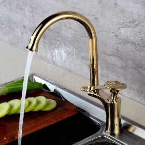 Ktichen Faucet Luxury Golden Brass High Arch Kitchen Sink Faucets Single Handle Swivel Spout Wash Basin Mixer Water Tap DL-8105