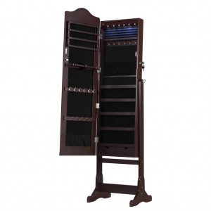 Lockable Standing Jewelry Cabinet Armoire and Storage Organizer with Mirror LED lights for Rings Earrings Cosmetics