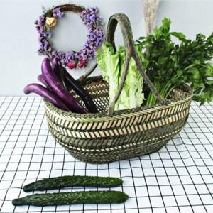 Large Bamboo Straw Basket Wicker Rattan Handmade Round Fruit Food Bread Kitchen Hanging Storage Baskets Organizer Panier Osier