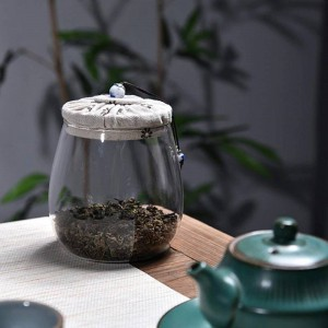 Lead-free glass Tea cans Creative Cloth wood cover Multigrain dried fruit storage bottle sealed cans Flower tea jar tea jar gift