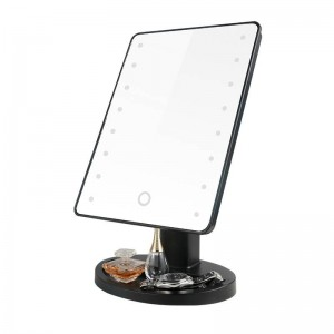 LED desktop makeup mirror square home simple rotatable dressing mirror touch adjustment lighting with Storage base mx01241442