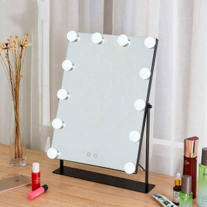 Led makeup mirror girls white desktop large vanity mirror with lights touch fill light dormitory cosmetic mirror mx01111356