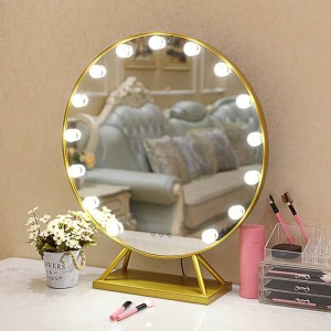 LED round makeup mirror with base Nordic style home large desktop decorative vanity standing mirror with lights mx12291738