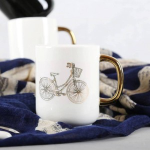Lekoch 350ml Solid White Black Ceramic Coffee Mug Funny Bicycle Gold Plating Mugs Travel Tea Milk Mug Office Home Couple Cup