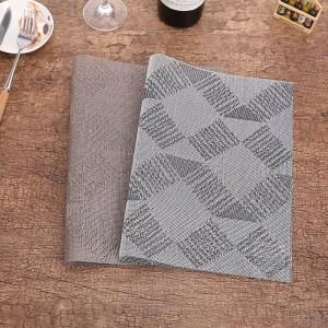Lekoch 4Pcs/lot Placemat PVC Rectangle Table Mat Placemats Grey Non-Slip Plastic Bowl Pad Bowl Home Kitchen Dinner Place Mats