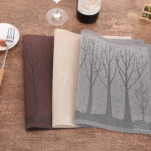 Lekoch 4Pcs/lot PVC Placemat Rectangle Tree Placemats For Table Plastic Mats Water-proof Dining Pads Bowl Non-Slip Costers Set