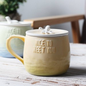 Lekoch Creative Cartoon Ceramic Coffee Mug 360ml 3D Tripe Mugs With Lid Handgrip Sea Animal Funny Gradient Color Milk Tea Cup