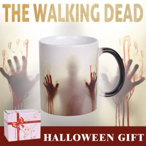 Lekoch The Walking Dead Ceramic Mug Color Changing Coffee Mug Heat Sensitive Bloody Hands Design Tea Cups for Halloween Day Gift