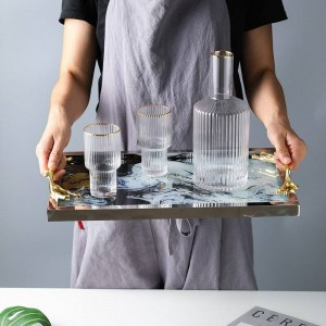 Light Luxury Copper Handle Glass Tray Storage Tray Home Decoration Plate Tea Set Chassis Cloud Pattern