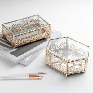 Light Luxury Glass Gold-plated Wrought Iron Jewelry Box Home Creative Lace Storage Box Bedroom Desktop Finishing Box