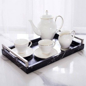 Light Luxury Home Nordic Rectangular Marble Pattern Tray Jewelry Storage Tray Tea Tray Classic Anti-made Marble Pattern