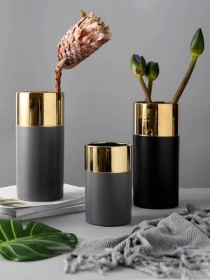 Light luxury matte gilt ceramic vase creative minimalist design desktop decoration ornaments