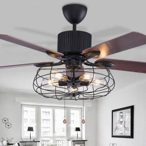 Loft fan chandelier retro dining room household electric fan mute LED remote leaf fan lamp