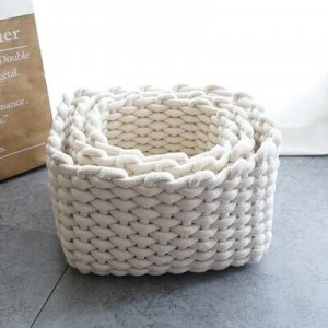 Loft Storage Basket Straw Nordic Handmade Cotton Rope Storage Basket Home Finishing Soft Clothing Shooting Display Basket A SET