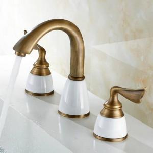 Luxury 3 Piece Set Faucet Bathroom Mixer Deck Mounted Sink Tap Basin Toilet Faucet Set Golden Finish Mixer Tap Faucet 8209