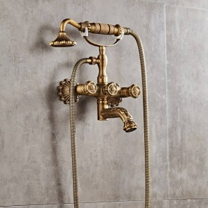 Luxury Antique Brass Bathroom Faucet Mixer Tap Wall Mounted Hand Held Shower Head Kit Shower Faucet Sets XT335