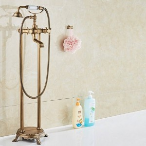 Luxury Antique Brass Bathroom Floor Mounted Free Standing Bathtub Faucet Shower Set Tub Filler Mixer Tap For Bathroom XT380