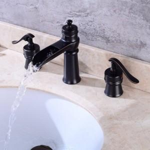 Luxury Black Bronze Brass Waterfall spout Roman Tub Sink Faucet Single Handle Deck Mounted 3pc XR7039
