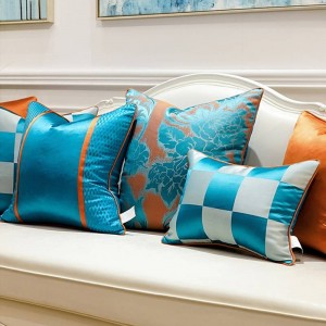 Luxury Cushion Cover Blue White Chessboard Jacquard Cushions Cojines Decorativos Para Sofa Patchwork Decorative Pillows Women