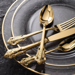 Luxury Golden Dinnerware Set Gold Plated Stainless Steel Cutlery Wedding Tableware Dining Knife Fork Tablespoon