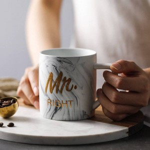 Luxury Marble Bronzing Word Ceramic Mugs Gold Plating MRS MR Couple Lover's Gift Morning Mug Milk Coffee Breakfast Creative Cup