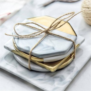 Marble Ceramic Coaster Nordic Style Gold-rimmed Coasters Prevent Slippery Cup Mat Table Decoration