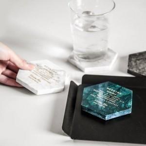 Marble Golden Text Hexagon Storage Tray Scandinavian Nordic Desk Round Jewelry Storage Plate Mini Coaster Organizer Home Decor