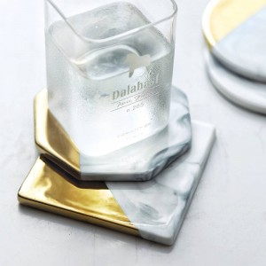 Marble Grain Gold Plating Ceramic Coaster Cup Mats Pads Home Decorations Kitchen Tools Desktop Non-slip Luxury Pad Europe Style