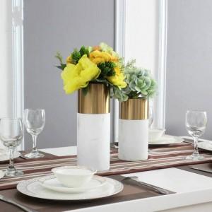 Marble Metal Vase Luxury Hotel Club Living Room Table Vase Decoration Sample Room Flower Insert Decoration