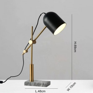 Marble table lamps modern for living room bedroom study room lighting decoration table light black metal lampshade reading lamp
