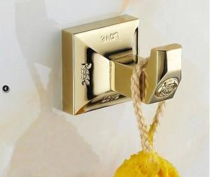 Metal Bathroom Series European Modern Towel Ring Toilet Paper Holder Cup Holder Robe Hook Bathroom Hardware 2200