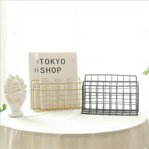 Metal Gold Storage Basket Shelf Vogue Modern Nordic Graceful Net Iron Desk Magazine Newspaper Book Storage Basket Organizer