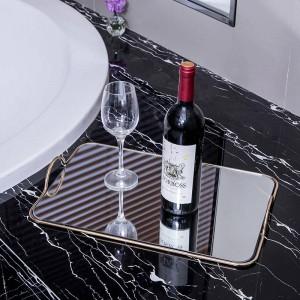 Metal Mirror Tray European Home Soft Decoration Ornaments Hotel Model Room Bathroom Storage Tray