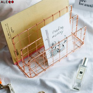 Metal Rose Gold Storage Basket Vogue Modern Chic Nordic Graceful Net Iron Desk Magazine Newspaper Book Organizer Storage Basket