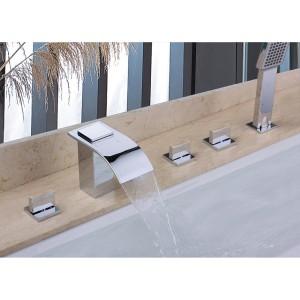 Milly Cascade Waterfall Widespread Deck-Mount Roman Tub Filler Faucet & Hand Shower Chrome