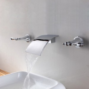 Milly Modern 2-Handle Waterfall Wall Mounted Bathroom Sink Faucet in Polished Chrome Solid Brass